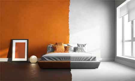 The process of selecting paint colors for interior house